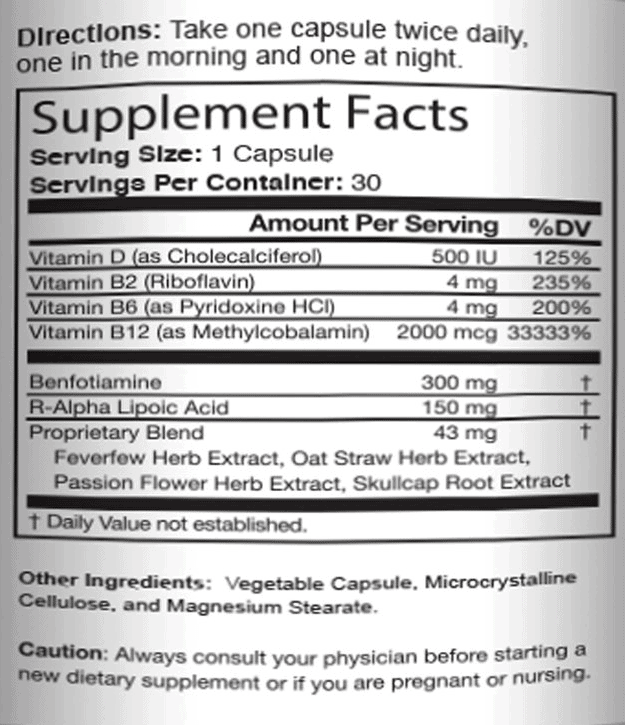 Supplement Facts list of ingredients in Nerve Renew